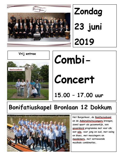 Combi-concert Burgerkoor, Admiraliteitssjongers en Bonifaciusband