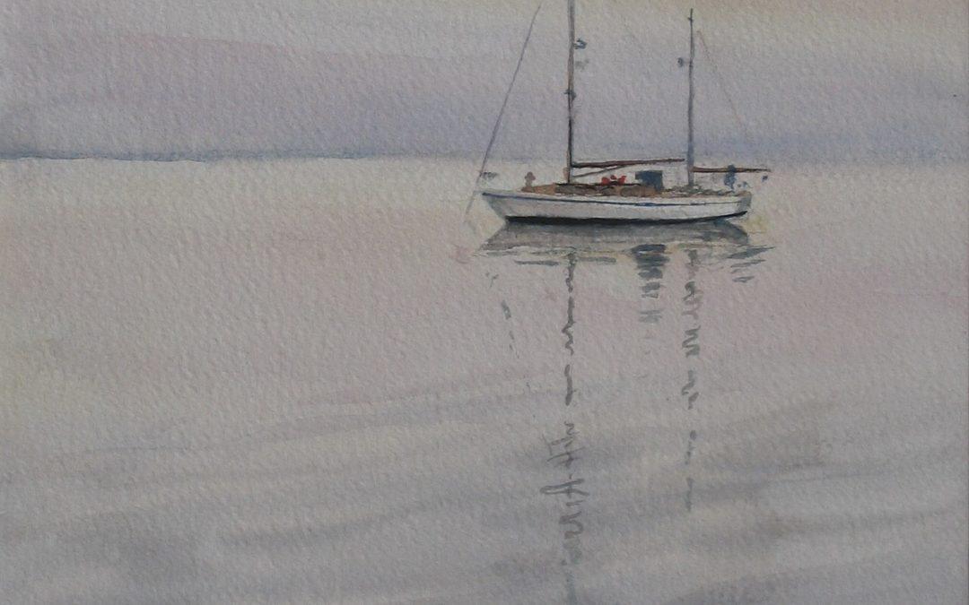 frank zindler, boot op wad bij avond